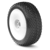 1/8 Buggy I-Beam Soft Tires Pre-Mounted on White EVO Wheels with Red Inserts (2)