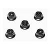 4mm Anodized Aluminum Flanged Lock Nuts (Black) (5)