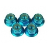 M4 Aluminum Flange Nylon Nut Dark Blue (5 pcs)